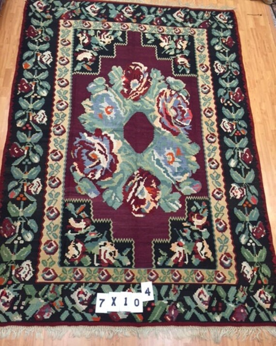 "7' x 10'4"" 1960s Turkish Kilim Oriental Rug - Hand Made - 100% Wool"