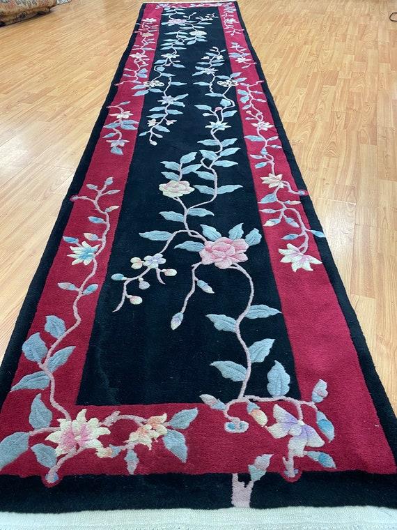 "2'6"" x 12'1"" Chinese Art Deco Oriental Rug - Full Pile - Hand Made - 100% Wool"