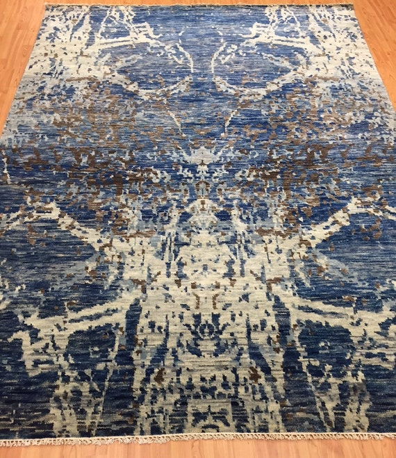 "6'3"" x 8'7"" Soft Melody Indian Oriental Rug - Modern - Hand Made - 100% Wool"