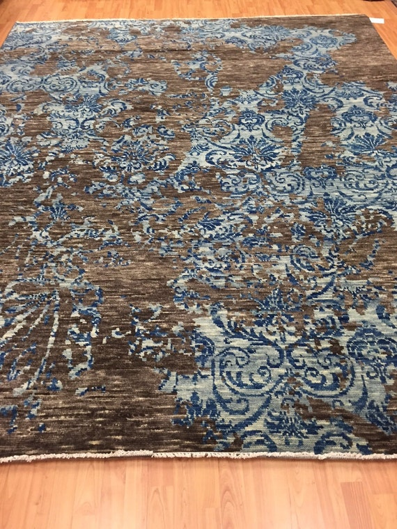 "8' x 10'1"" Soft Melody Indian Oriental Rug - Modern - Hand Made - 100% Wool"