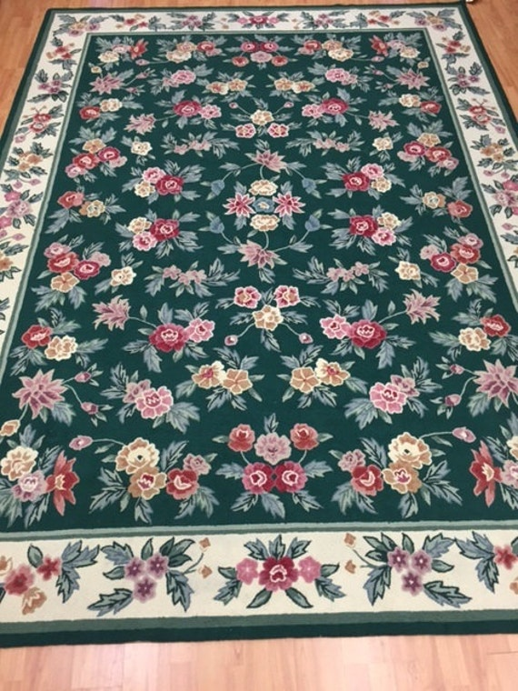 "7'9"" x 10'9 Chinese Stitch Work Oriental Rug - Hand Made - 100% Wool - Floral - Vintage - 1980s"
