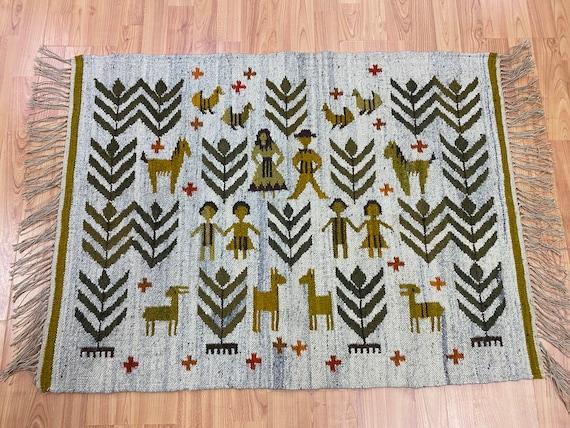 "2'7"" x 3'6"" Native American Navajo Flat Weave Oriental Rug - Kilim - Hand Made"