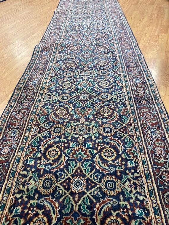 "2'6"" x 24' New Indian Herati Fish Design Oriental Rug - Hand Made - 100% Wool"