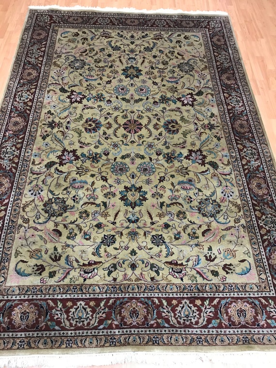 6' x 9' Indian Kashan Oriental Rug - Very Fine - 300 KPSI - Hand Made - 100% Wool