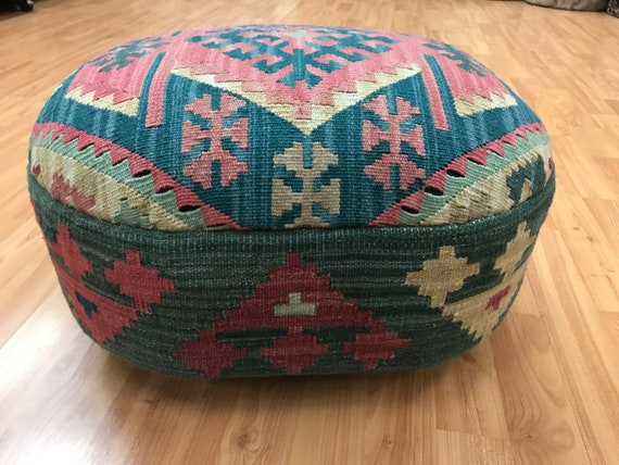 "Chinese Kilim Ottoman - Foot Stool - 18"" x 12"" x 10"" - Wood Frame"