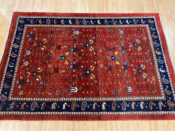 """3'10"""" x 5'8"""" New Indian Tribal Oriental Rug - Hand Made - 100% Wool"""