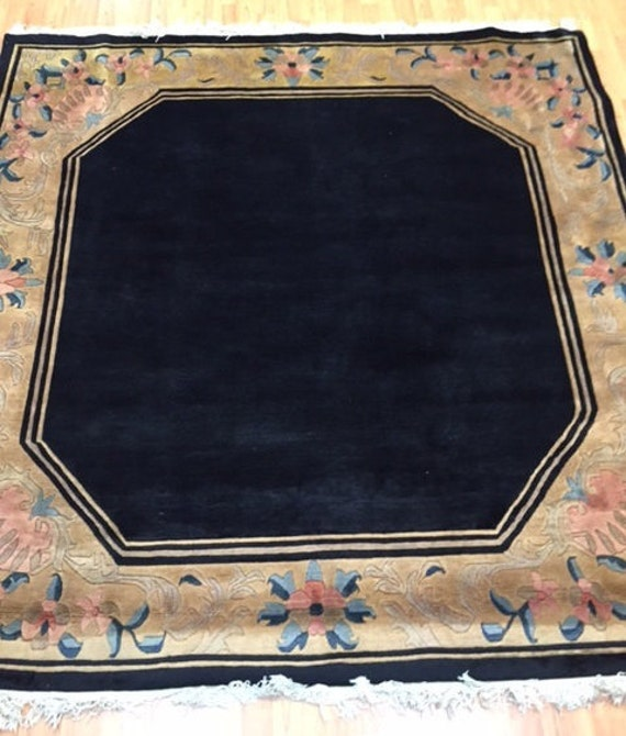 """6'7"""" x 6'9"""" Square Indian Nepal Oriental Rug - Hand Made - 100% Wool Pile"""