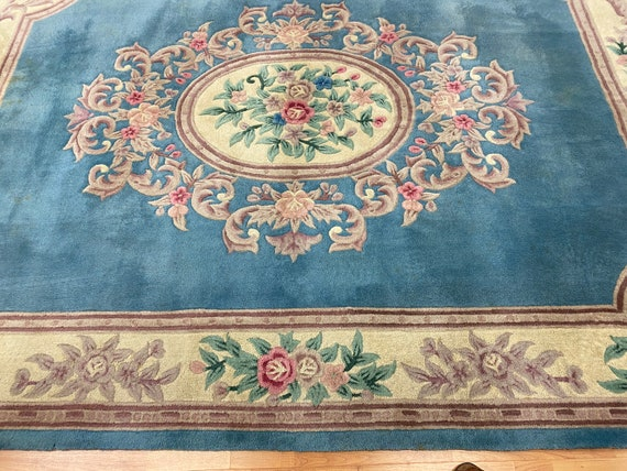 """7'10"""" x 10'5"""" Chinese Aubusson Oriental Rug - Full Pile - Hand Made - 100% Wool"""