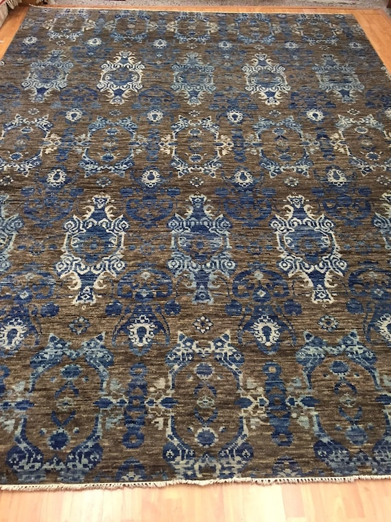 "9'1"" x 12'2"" Soft Melody Indian Oriental Rug - Modern - Hand Made 100% Wool"