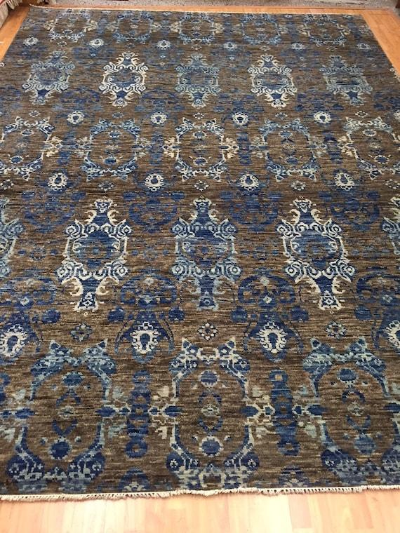 "9'1"" x 12'2"" Soft Melody Indian Oriental Rug - Modern - Hand Made 100% Wool"