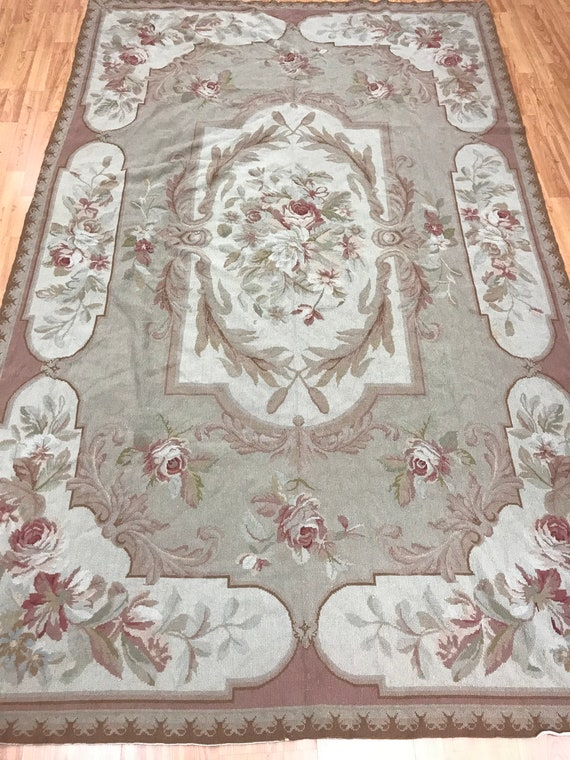 """5'4"""" x 8'7"""" Chinese Needle Point Oriental Rug - Hand Made - 100% Wool"""