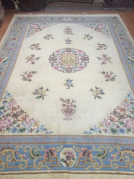 "8'3"" x 11' Chinese Art Deco Oriental Rug - Hand Made - Full Pile - 100% Wool"