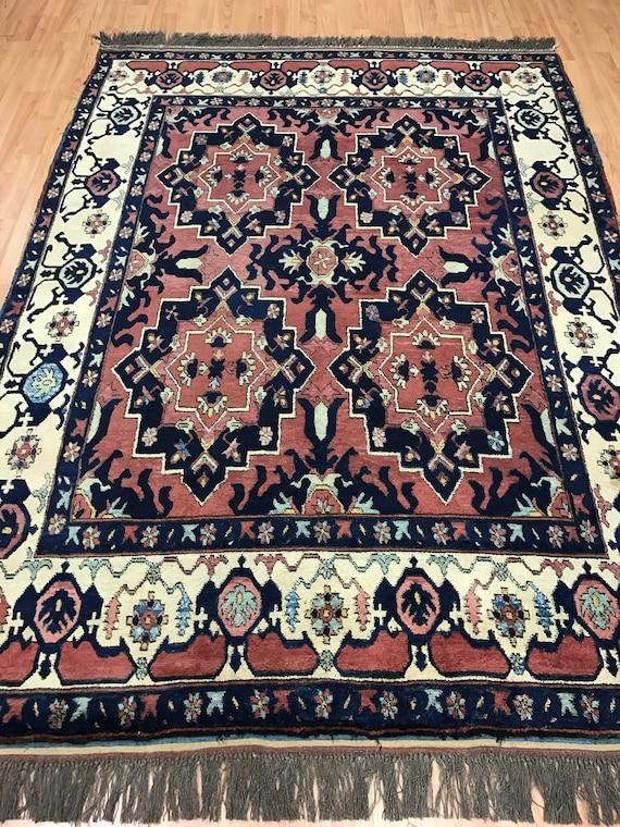 """5'1"""" x 7'1"""" Afghan Karghai Oriental Rug - Vegetable Dye - Hand Made - 100% Wool"""