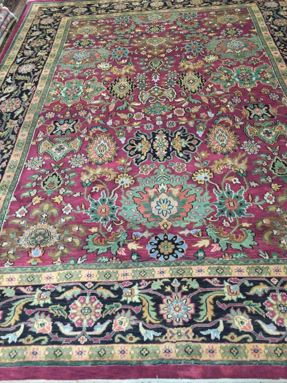 "7'9"" x 10'2"" Indian Agra Oriental Rug - Hand Made - 100% Wool"