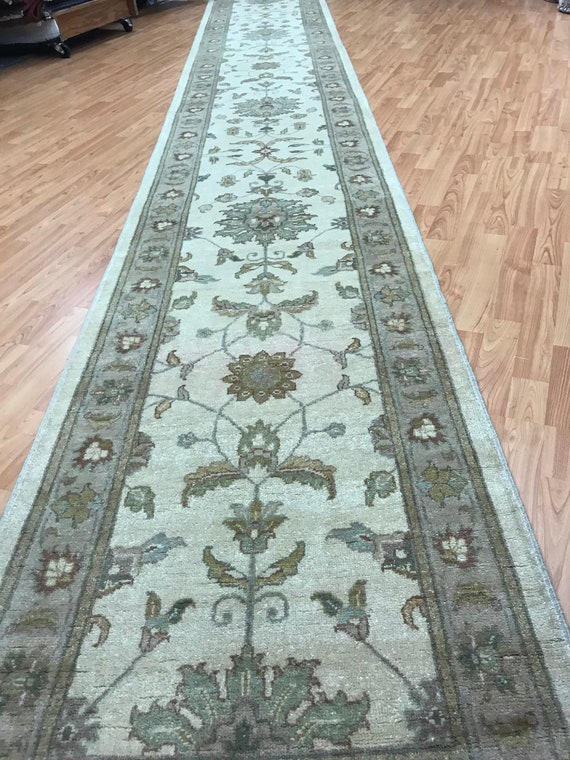 "2'7"" x 20' Pakistani Peshawar Floor Runner Oriental Rug - Hand Made - Vegetable Dye - 100% Wool"