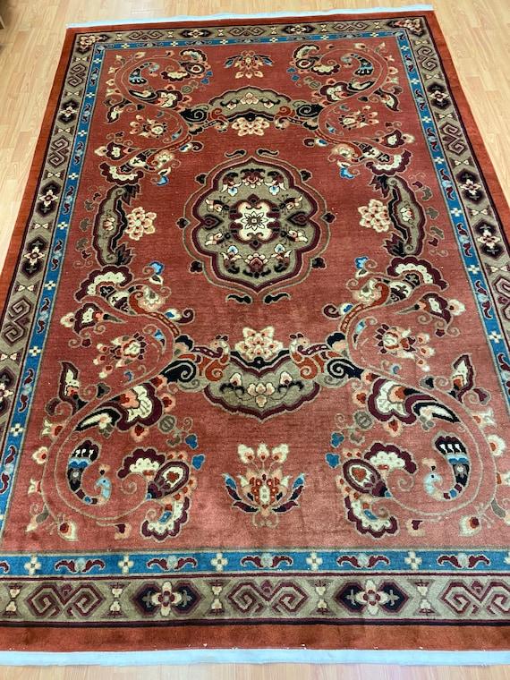 "6'6"" x 9'8"" Chinese Art Deco Oriental Rug - Full Pile - Hand Made - 100% Wool"