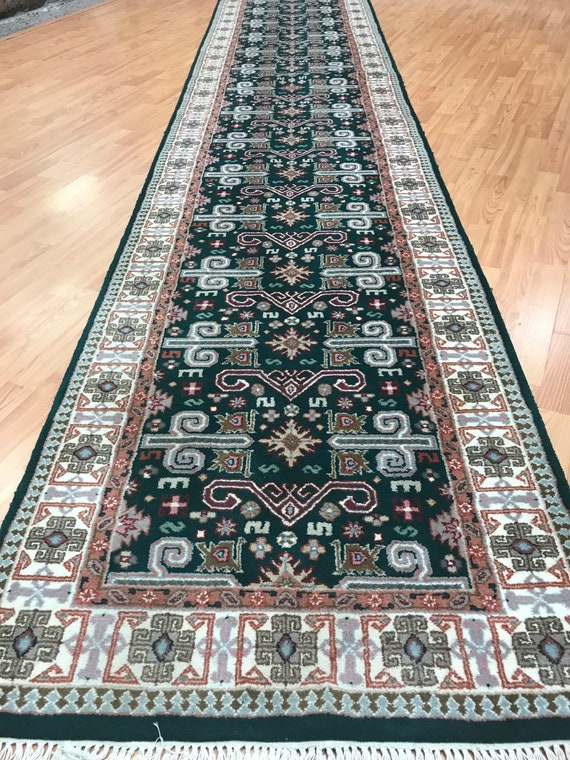 "2'8"" x 14'9"" Indian Morsh Josheghan Floor Runner Oriental Rug - Hand Made"