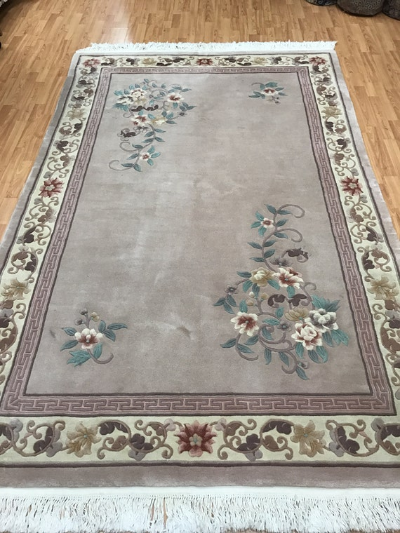 """5'9"""" x 8'9"""" Chinese Art Deco Oriental Rug - 90 Line - Hand Made - Full Pile - 100% Wool"""