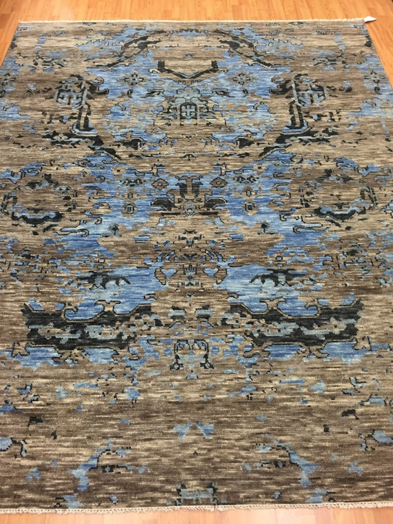 8' x 10' Soft Melody Indian Oriental Rug - Modern - Hand Made - 100% Wool