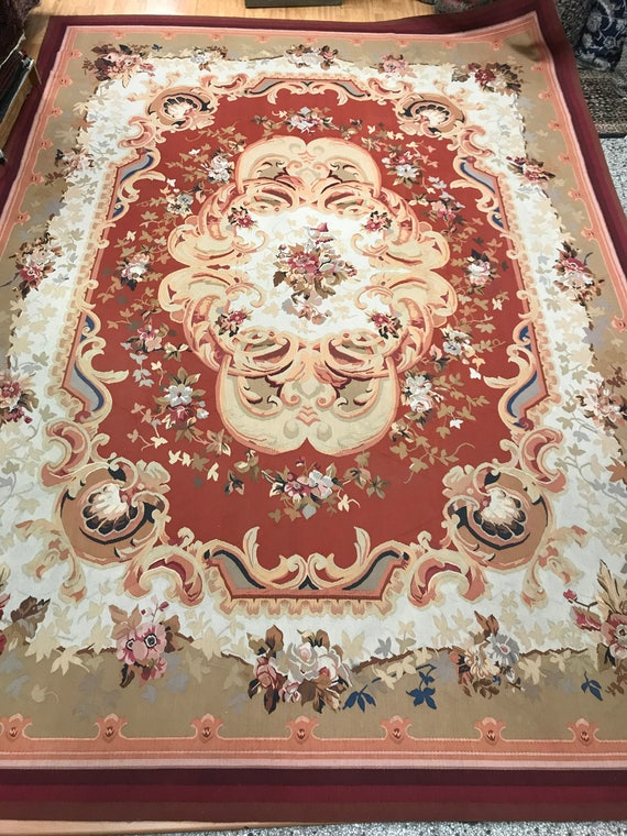 "10'2"" x 14'1"" Chinese Aubusson Oriental Rug - Flat Weave - Hand Made - 100% Wool"