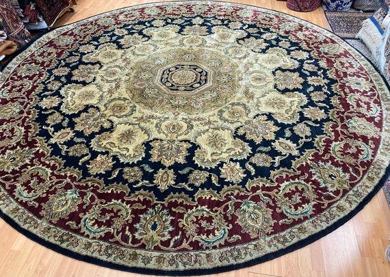 "11'1"" x 11'1"" New Round Indian Jaipur Oriental Rug - Hand Made - 100% Wool"