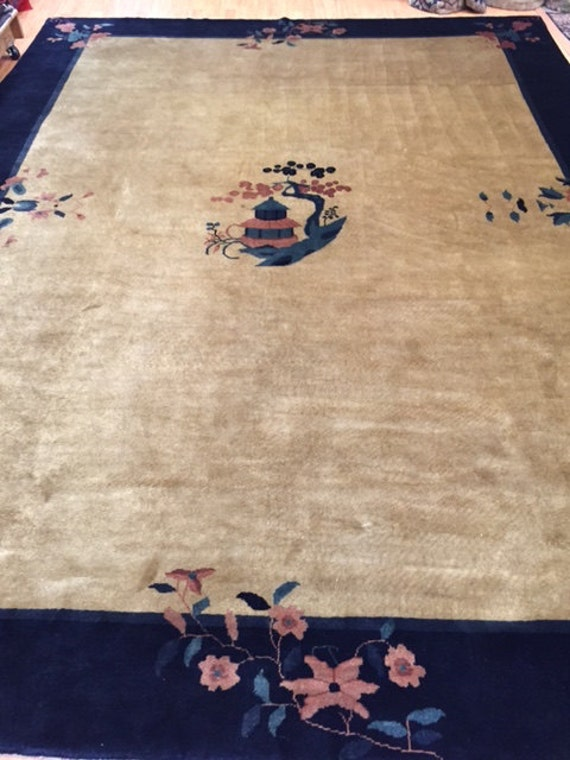 9' x 12' Chinese Art Deco Oriental Rug - Very Fine - Hand Made - 100% Wool