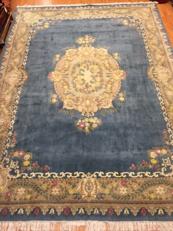 "8'9"" x 12' Chinese Aubusson Oriental Rug - Hand Made - Full Pile - 100% Wool - Vintage - 1980s"