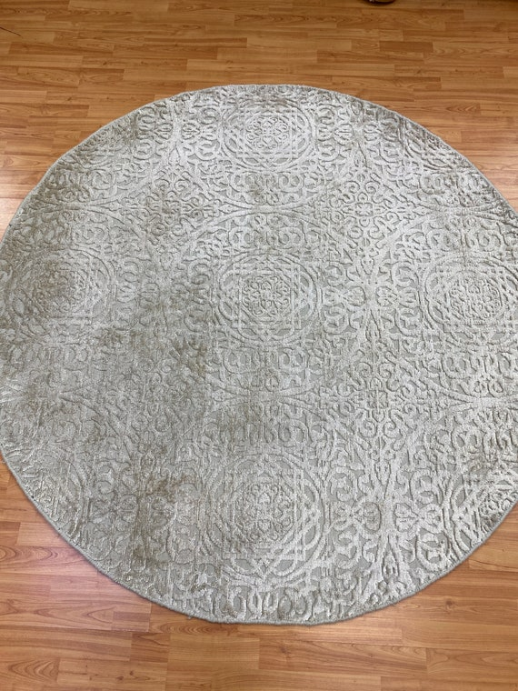 6' x 6' Round Indian Artisan de Luxe Oriental Rug - Modern - Hand Made