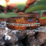 CUSTOM ORDER for Selia: Desert Ironwood Band with Rose Gold Inlay and Overlapping Aquamarine Vein.