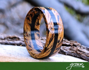 Cocktail Jewelry, Gift For Her Handmade Ring Flower Ring Wedding Jewelry Wooden Ring Ebony Wood Ring