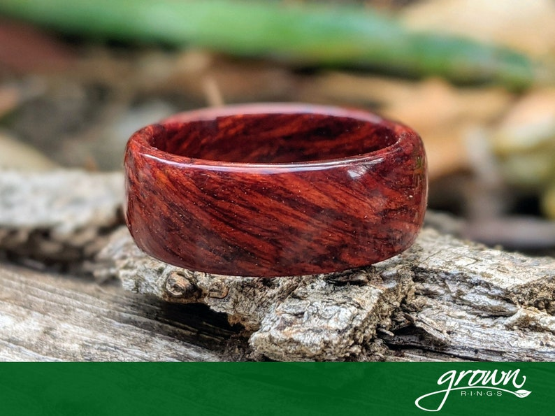 Handmade Custom Bloodwood Wooden Ring  Wedding Ring  Wood image 0