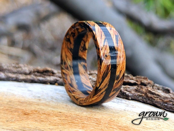 Jack Daniels Whiskey Barrel Ebony Center Wood Rings Custom Etsy