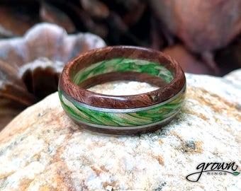 Custom Handmade Wood Ring w/ Platinum Inlay | Walnut & Emerald Maple | Mens Wood Ring | Wedding Ring | Wooden Ring | Gift for Her