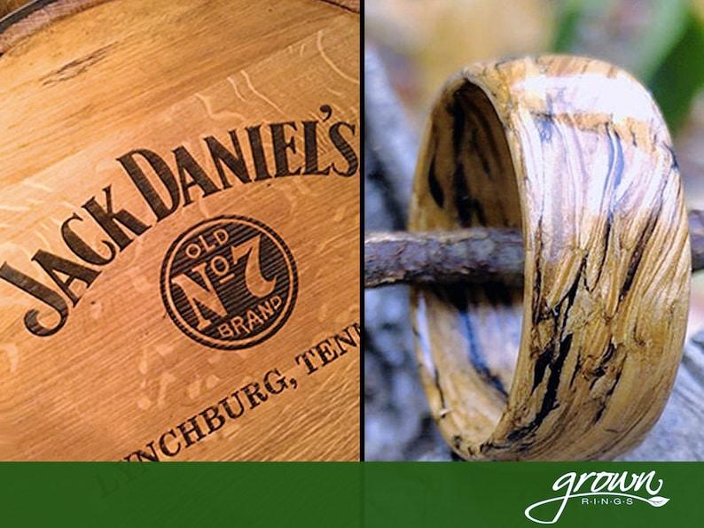 Jack Daniels Whiskey Barrel Wood Ring  Handmade Custom  image 0