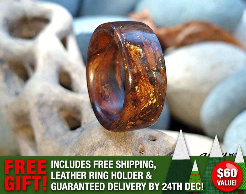 Custom Handmade Gold & Desert Ironwood Wood Ring  24K Gold  image 0