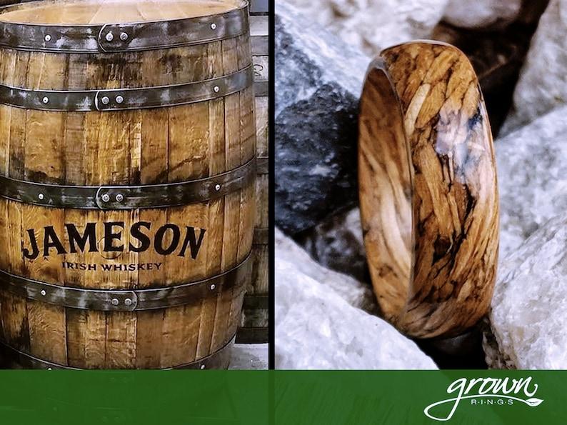 Jameson Whiskey Barrel Wood Ring  Handmade Custom  Wedding image 0