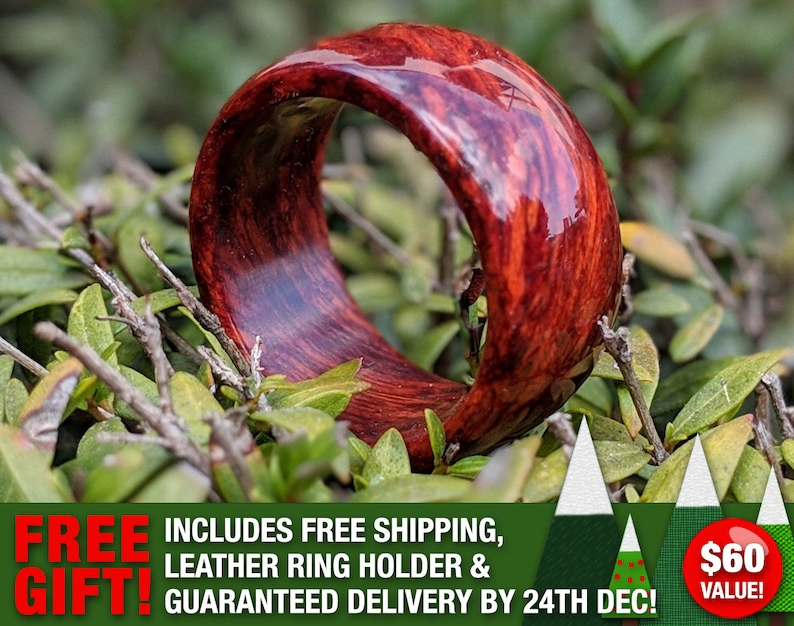 Handmade Custom Bloodwood Wooden Ring  Wedding Ring  Wood image 0