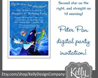Peter pan invitation etsy peter pan invitation design print yourself digital file birthday party celebration peter pan wendy neverland customized design filmwisefo
