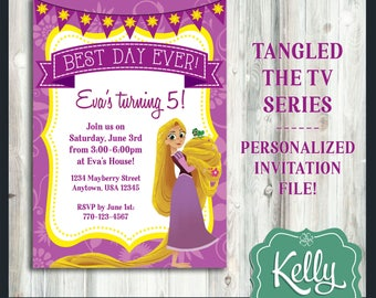 Rapunzel invitations etsy tangled the series rapunzel invitation design print yourself digital file birthday party tangled tv show customized design filmwisefo