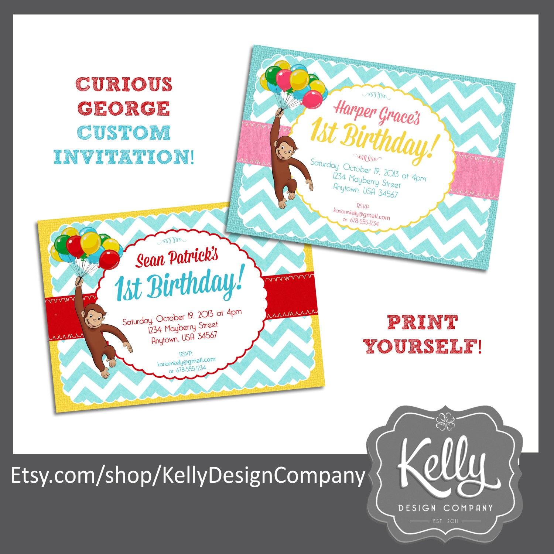 Curious George Invitation Design Print Yourself Digital File | Etsy