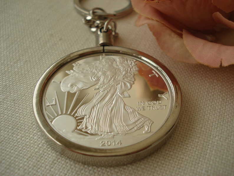 Eagle Liberty Dollar silver coin Key Chain, His and Hers, Wedding gift,  Best friend, Groomsmen gift, Bridesmaid gift