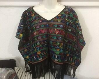 Newlymade by Mayan artisan ingrid Aracelly Vintage Guatemalan shrug using vintage Guatemalan huipil