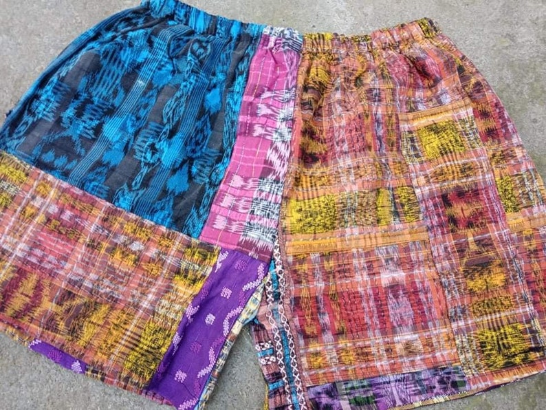Guatemalan Ethnic Vintage Textiles Fabric Mayan Drawstring Waist Capris ShortsHuipil Corte LXL