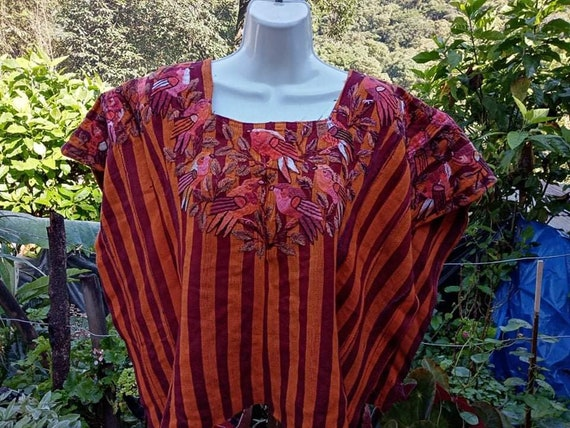 Vintage Guatemalan Huipil Santiago Atitlan Handwoven Hand Embroidered Circa 1980\u2019s