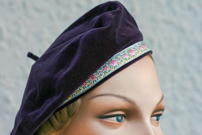 Purple Velveteen Beret  Size Medium image 1