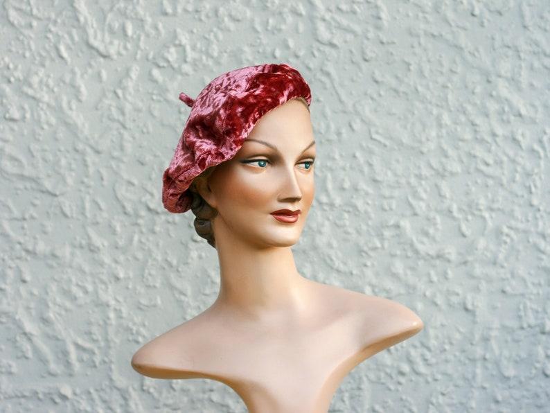 Pink Vintage Velvet Beret  3 sizes available image 1