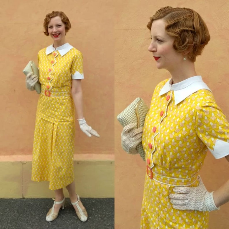 Yellow Zig-Zag Easter Dress 1930s Style image 0