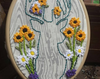 Deer Silhouette with Florals Embroidery Hoop