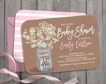 583e685b5b9b Floral anemones baby breath watercolor mason jar baby shower invitation.  Digital files. Rustic card stock. Customisable. 143CMP
