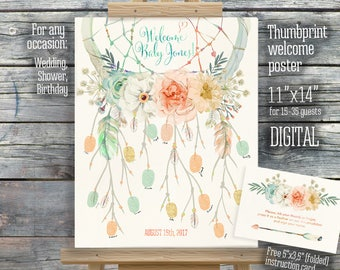 Dreamcatcher thumbprint guestbook peach pink mint fingerprint 11x14 dreams do come true welcome sign baby shower. 130CMPEX 131CMPEX 132CMPEX
